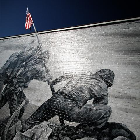 Artist Michael Sekletar's rendering of the historic flag raising during the Battle of Iwo Jima in World War II.  Photo credit: David Wilding