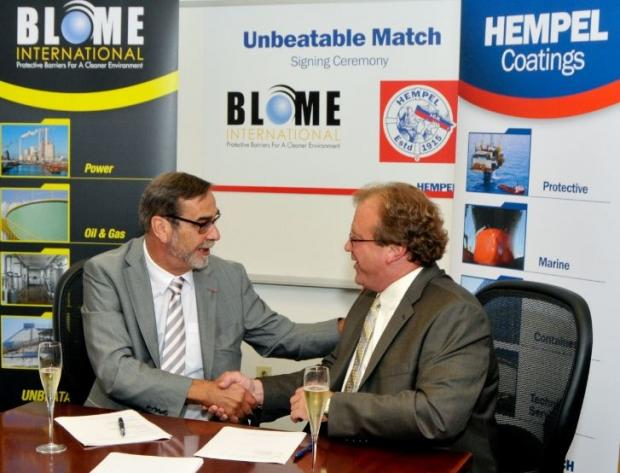 Signing ceremony: Pierre Yves Jullien, Hempel Group president and CEO (left), and Steven Blome, CEO of Blome International.