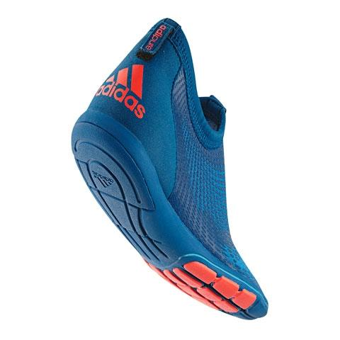 "The new ""adipure"" line of training shoes from adidas supports natural running through a rolling motion over the metatarsus and forefoot."