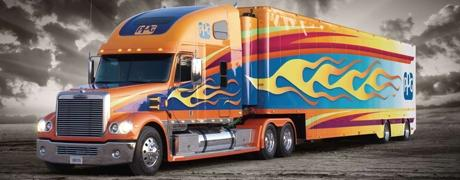 The custom-painted, 75-foot-long 2007 Coronado Freightliner tractor-trailer rig – sporting flames, colorful graphics, dazzling effects and paint schemes achieved with PPG products – will make 20 appearances in 18 states from March through October.
