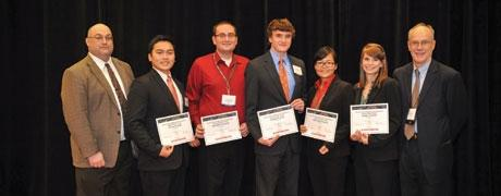 Student poster award winners: Fifth place, Jack Ly; Fourth place, Christopher Childers; Third place, Michael Sims; Second Place, Li Xiong; First place, Emily Hoff.
