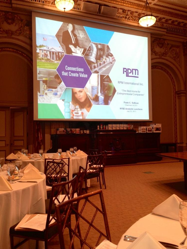RPM discussed financial results at a luncheon at the NYSE.