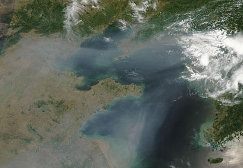 This satellite photo shows the air pollution over China