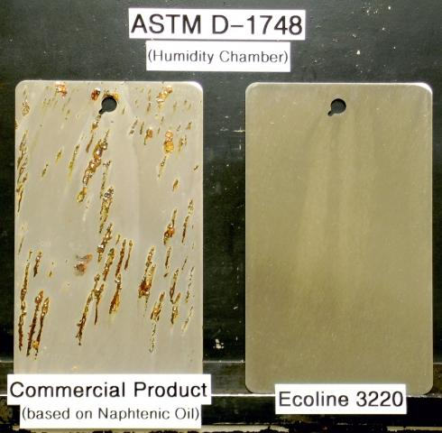 Naphtenic oil at left and Ecoline 3220 at right.