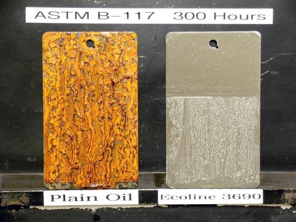 Plain oil at left and Ecoline 3690 at right.