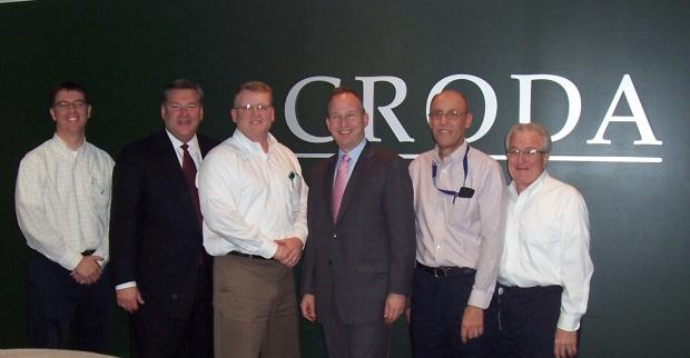 (Left to right): Jon Elliott, process development team leader, Croda Inc; Alan Levin, cabinet secretary for economic development; Robert Stewart, site director, Atlas Point, Croda Inc; Jack Markell, Governor of Delaware; Robert Bellino; site engineering manager, Croda Inc; and Robert Touhey, SHE manager, Croda Inc.
