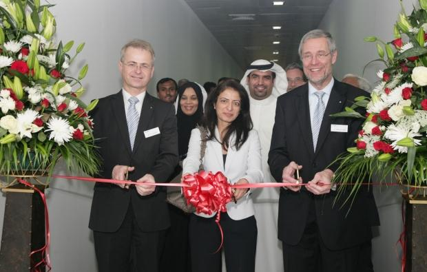 From left to right: Uwe Zakrzewski, managing director marketing and sales, BYK-Chemie GmbH; Amina Al Rustamani, CEO, TECOM Business Parks; Wolfgang Kortmann, manager global labs and institutional network, BYK-Chemie GmbH.
